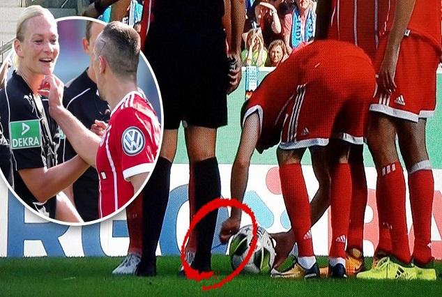 Ribery Cheekily Unties Bibiana Steinhaus's Bootlace Moments Before Smashing In A Free-kick 5